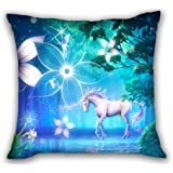 ToLuLu® Unicorn Home Indoor Outdoor Lounge Decorative 18x18 Inch Throw Cushion Case Pillow Cover Replace,(Insert Not Included)