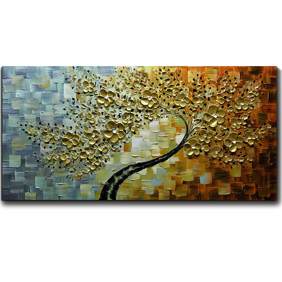 V-inspire Golden Flower Paintings, 24x48 Inch 3D Abstract Paintings Oil Hand Painting On Canvas Wood Inside Framed Ready to Hang Wall Decoration For Living Room Bed Room by V-inspire
