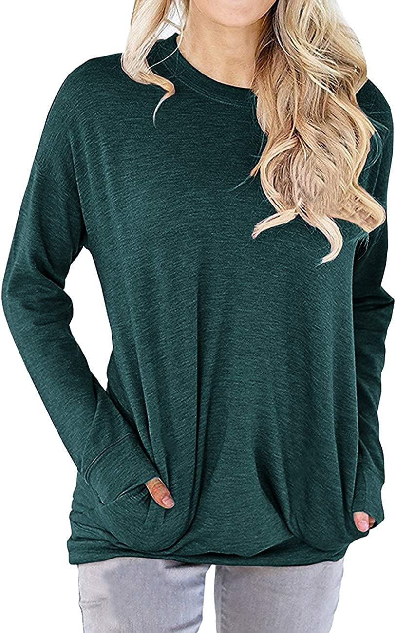 Dutebare Women Long Sleeve Round Neck Sweatshirt Pocket Pullover Loose Tunic Shirts Blouse Tops