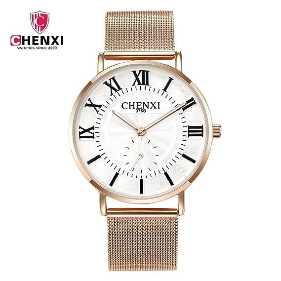 HWCOO Relojes Amanecer Reloj de Malla Reloj de Oro Rosa Reloj de Cuarzo de los Hombres 076B Reloj de Pulsera (Color : 1): Amazon.es: Relojes
