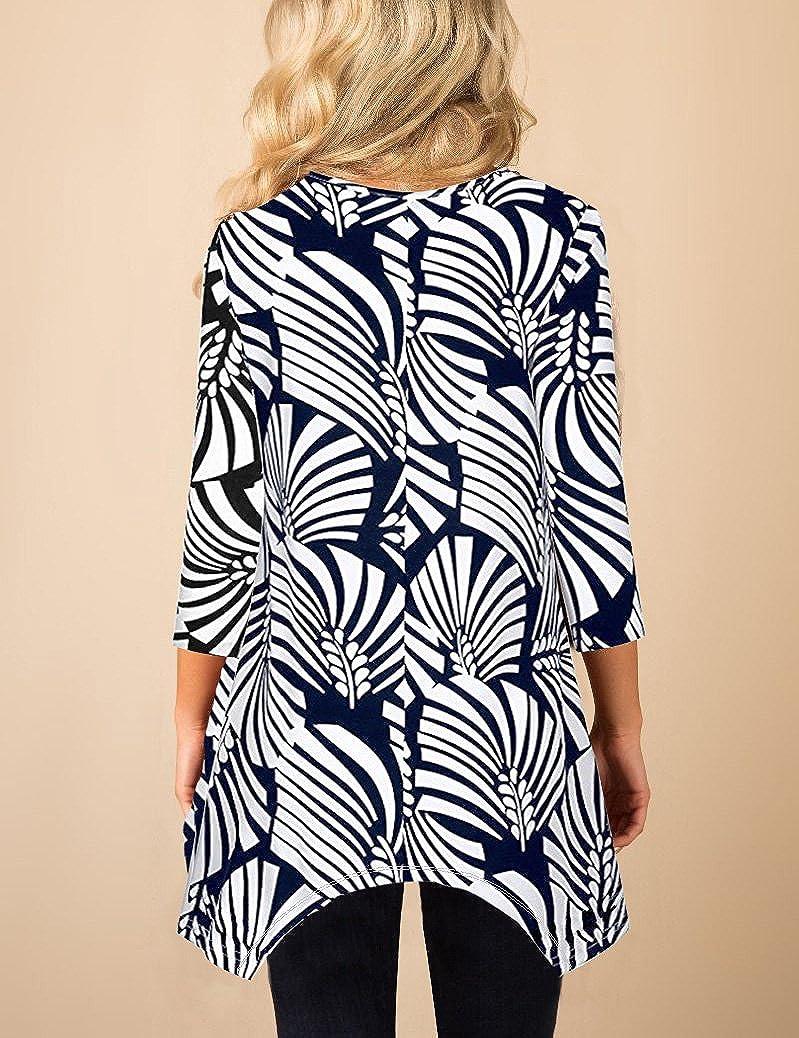 MIROL Womens Spring Floral Print 3//4 Sleeve Irregular Hem Asymmetrical Tunic Loose Long Blouse Tops