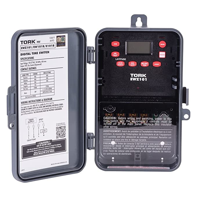ewz series multipurpose control astronomic 7 day time switch, 120-277 vac  input supply, 1 channel, spst output dry contact: electronic photo  detectors: