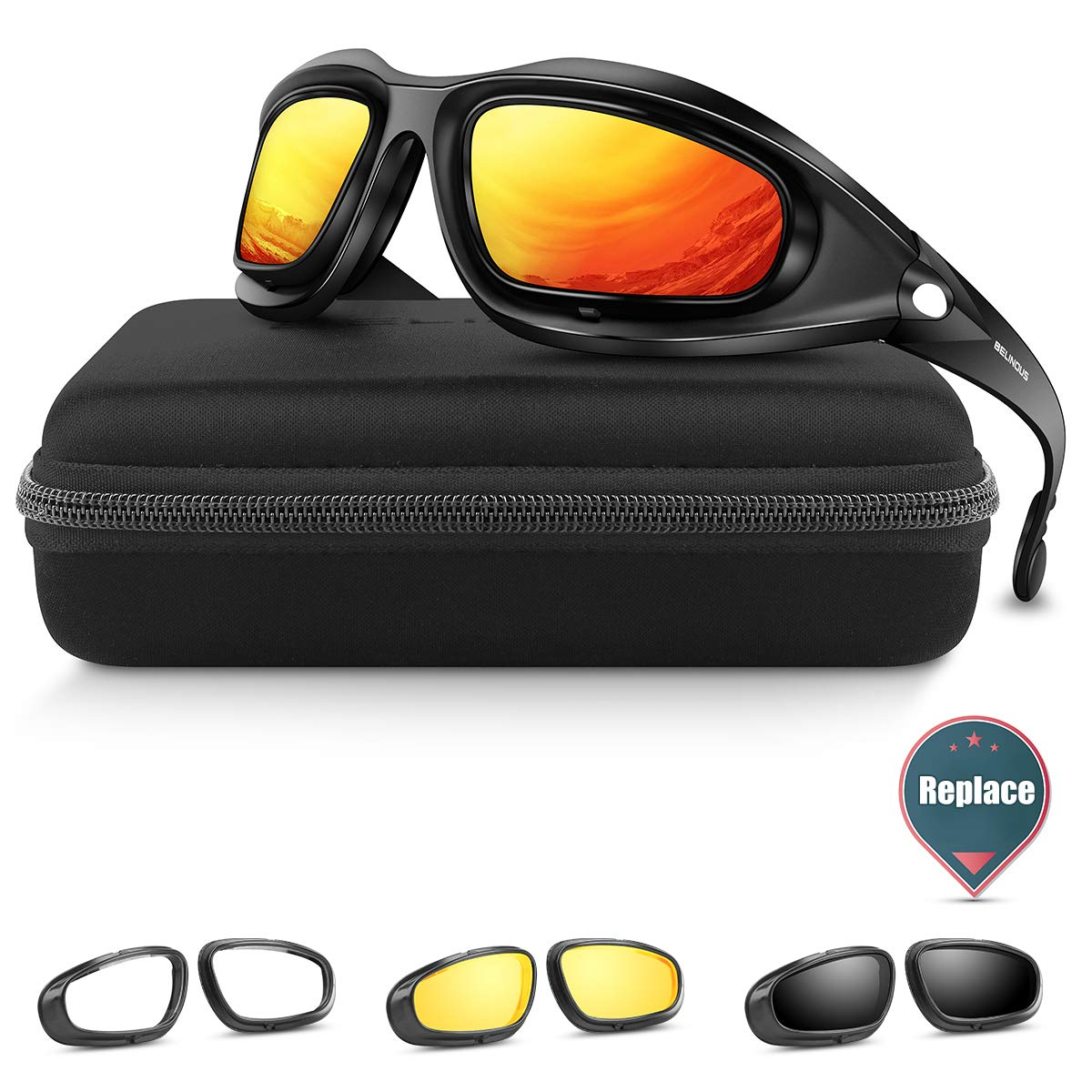 BELINOUS Safety Glasses, Polarized Motorcycle Riding Glasses Goggles Sunglasses Accessory for Men Women, 4 in 1 Copper Smoke Clear Yellow Lenses, Black Frame, Cycling Driving Hunting Fishing Shooting by BELINOUS