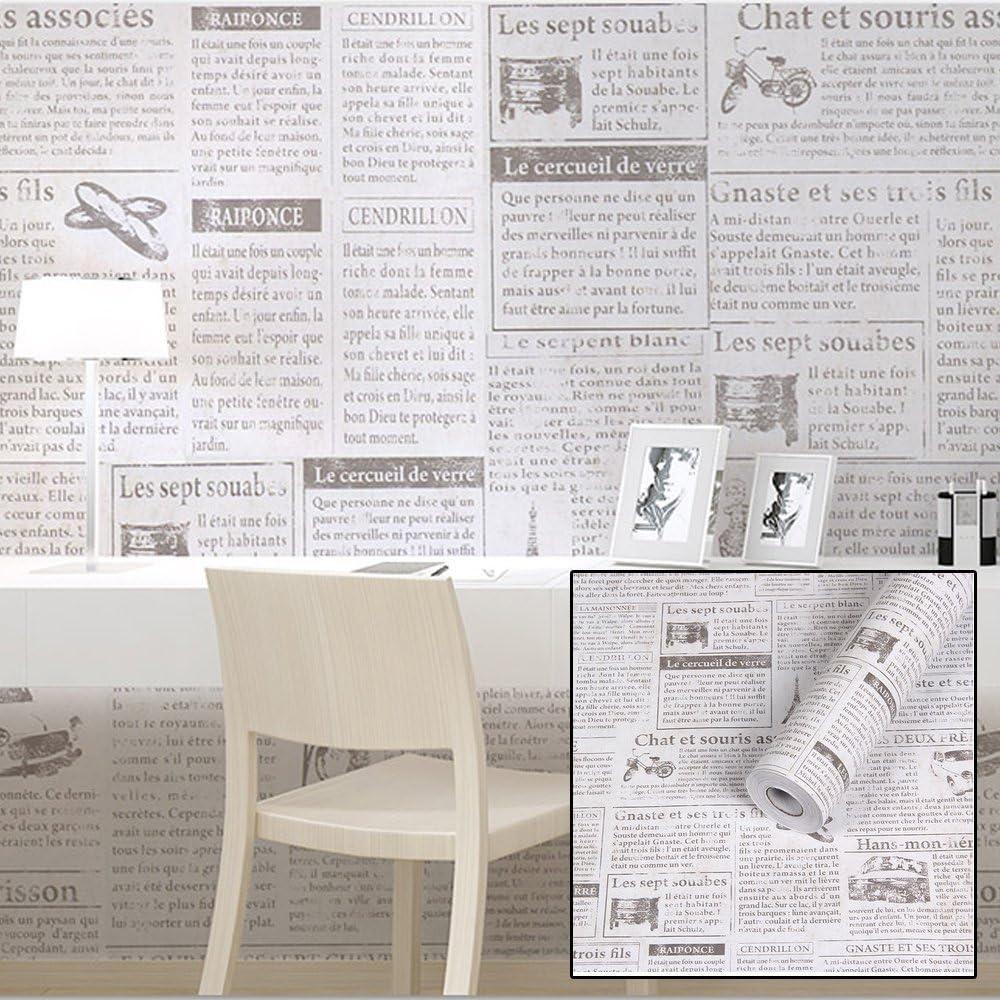 SimpleLife4U Retro Beige Newspaper Contact Paper Self-Adhesive Shelf Liner Countertop Sticker 17.7 Inch By 9.8 Feet