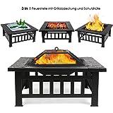 FEMOR 3 in 1 Feuerstelle mit Grillrost 81x81x45cm BBQ / Ice Schal / Outdoor Fire Pit, FS002 Garten Feuerschale Quadratisch Metall Feuerkorb mit wasserdichter Schutzhülle (Feuerstelle)