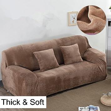 Fundas gruesas para sofás de 1, 2, 3 y 4 asientos, color puro, de terciopelo, fáciles de ajustar y de tejido elástico, marrón claro, 4 ...