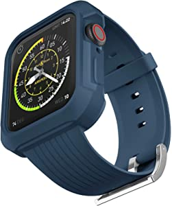 OHCBOOGIE TPU Mens Bands Compatible with Apple Watch Bands 44mm 42mm with Rugged Bumper Case,Sport Military Drop-Proof Shockproof Protective Cases for iWatch Series 6/5/4/3/2/1/SE