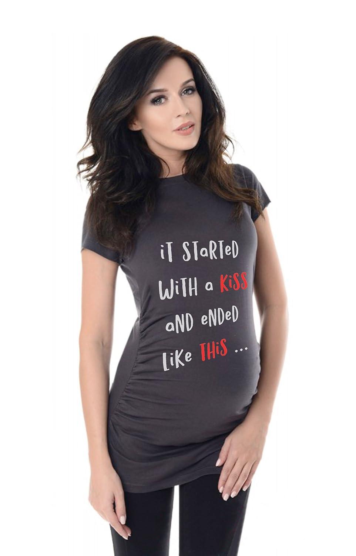 bellytime Mama 2019 Umstands T-Shirt/Schwangerschafts T-Shirt, Bedrucktes Shirt für die Werdende Mutter, Tolles Geschenk, Witzig, liebevoll
