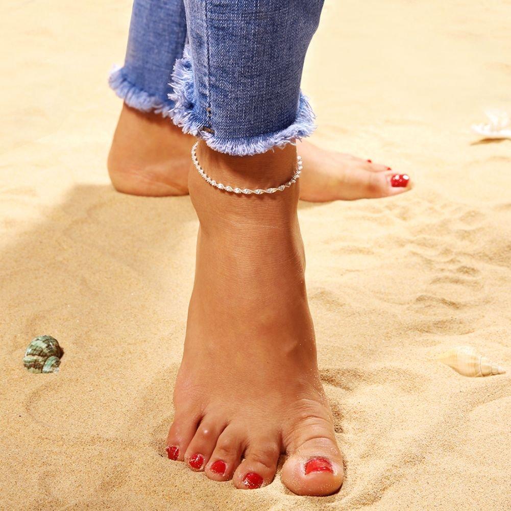/Argent Boho Femme fin Cha/îne de cheville Pied Bracelet de cheville Pieds nus Sandales de plage Bijoux/