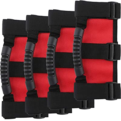 Spurtar Grab Handles for Jeep Wrangler Roll Bars (4 Pack), 3 Straps Design Grip Handle Easy-to-Fit for 1955-2020 Models, Wrangler Accessories – Red & Black: Automotive
