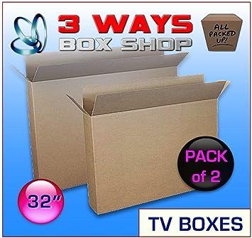 2 x 32 inch TV LCD Plasma Moving caja imagen espejo marco eliminación caja de cartón: Amazon.es: Oficina y papelería