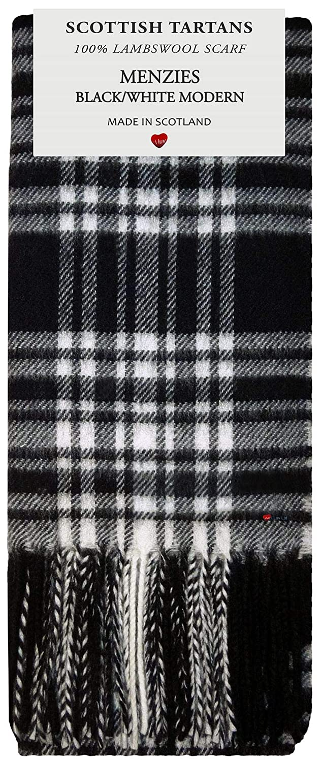 Menzies Black//White Modern Tartan Plaid 100/% Lambswool Scarf /& Tie Gift Set