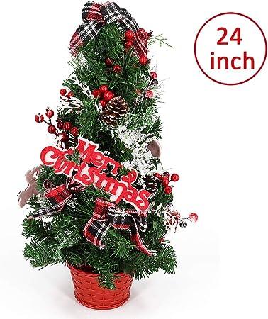 Bibivisa 60cm Árbol de Navidad de Mesa Artificial, Pequeño Abeto con Cono de Pino, Bayas Rojas, Brillo Adornos y Fieltro Merry Christmas en una Canasta, para La Misa del Gallo Decoracion Casa: