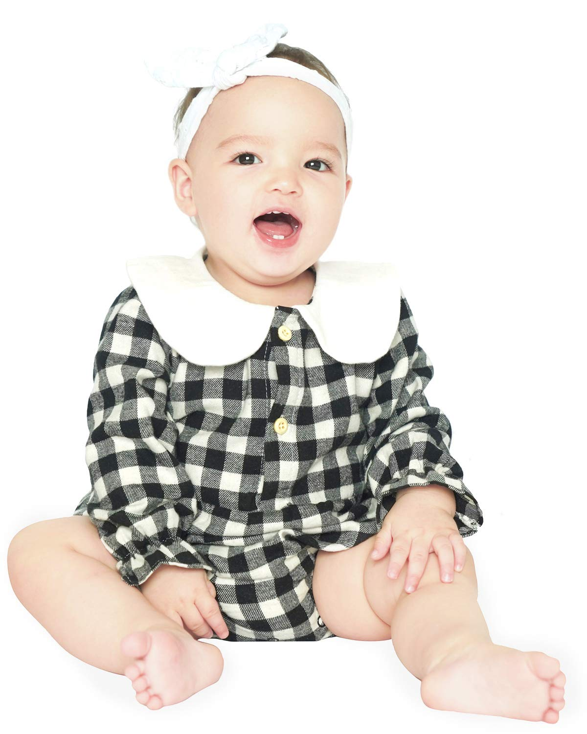 DeerBird Baby Girls Long Sleeve Bodysuits Rompers Plaid Infant Toddler Cotton Jumpsuits Size 12M Black and White Plaid