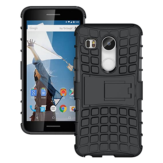 JKase DIABLO Series Tough Rugged Dual Layer Protection Case Cover with Build in Stand for Nexus 5X (2015) (Black)
