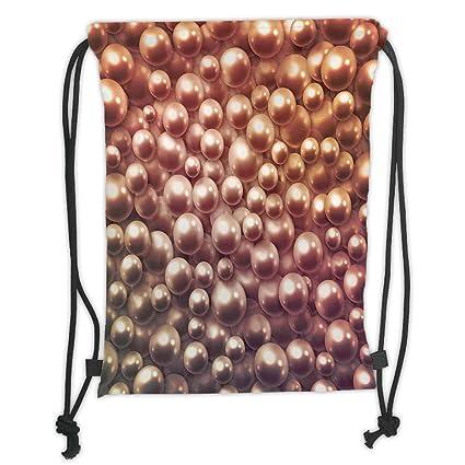 Mochilas Personalizadas con cordón, diseño de Perlas, Varios tamaños, Mezcla de Perlas nacarosas