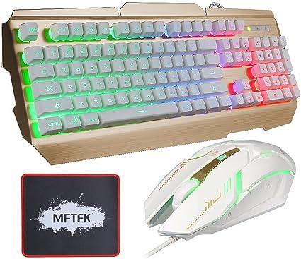 Gaming Teclado y Ratón Set – mftek USB engancharse LED Arco Iris Backlit Luminous 3 Nivel brillo ajustable Metal Gaming Teclado y Ratón Combo