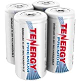 Tenergy Premium Rechargeable C Batteries, High Capacity 5000mAh NiMH C Size Battery, C Cell Battery, 4-Pack