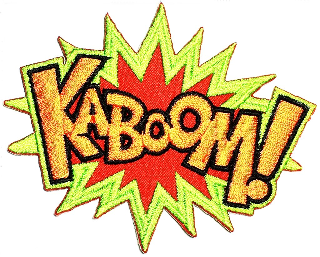 Kaboom Sound of an Explosion Cartoon Kids Sew on Patch Iron-On Designer Patch Used for Gifts Crafts Jeans Clothing Fabric