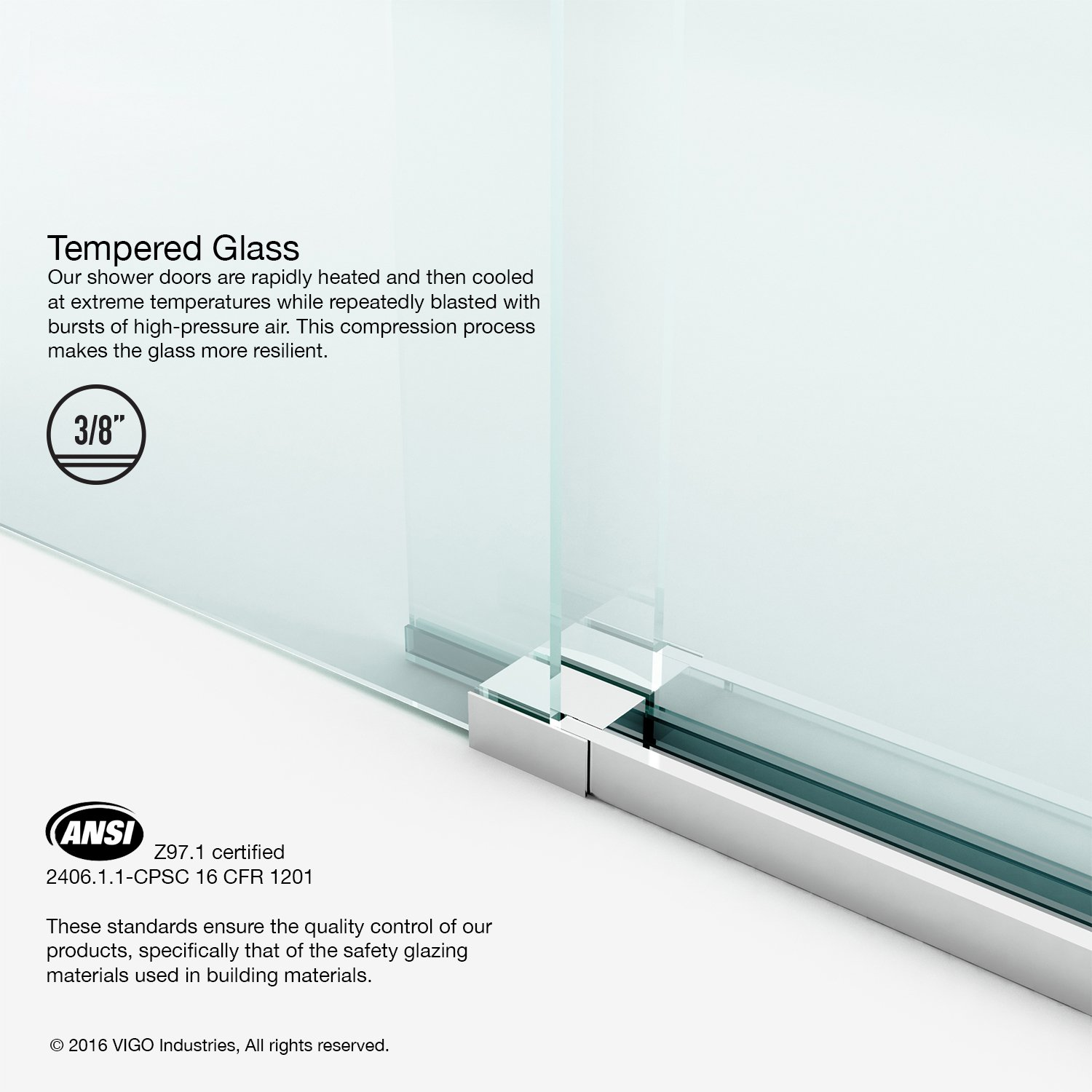 VIGO Luca 56 to 60-in. Frameless Sliding Shower Door with .375-in. Clear Glass and Chrome Hardware by Vigo (Image #3)