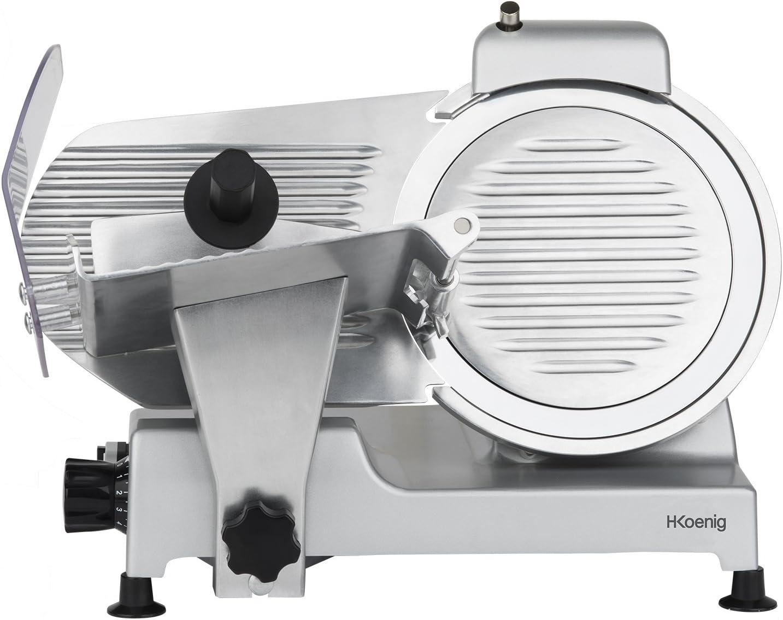 H.Koenig Cortafiambres Profesional Pequeño, Cuchilla Italiana, 25 cm, 282 RPM, Ajuste de Grosor del Corte, 240 W, Aluminio, Gris MSX250, Inox