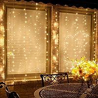 Cortina de Luces LED Navidad, MINGER 3M x 2M 300 LEDs Luces Cortina con 8 Modos, Cadena de Luces Cortina Impermeable para Decoración de Boda, Jardín, Fiesta, Día De San Valentín - Blanco Cálido