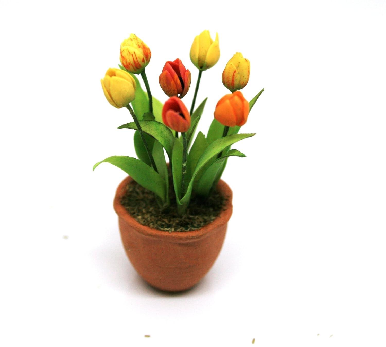 Dollhouse Miniature Pot of Orange Tulips