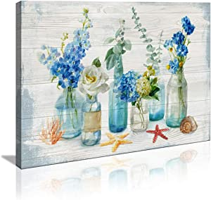 Wall Art for Kitchen Watercolor Mason Jar Floral Wall Decor Bathroom Bedroom Decor Prints Canvas Wall Art Small Framed Artwork for Walls Vintage Paintings on Canvas Prints (Blue Flower, 12x16inch)