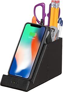 Pencil Holder Pen Desk Organizer QI Certified Wireless 10W Fast Cell Phone Charger Makeup Brush Stand Office Gift iPhone 11 Xs MAX XR XS X 8 + Samsung Galaxy S S10 S9 + S8 + Note 10: (NO AC Adapter)