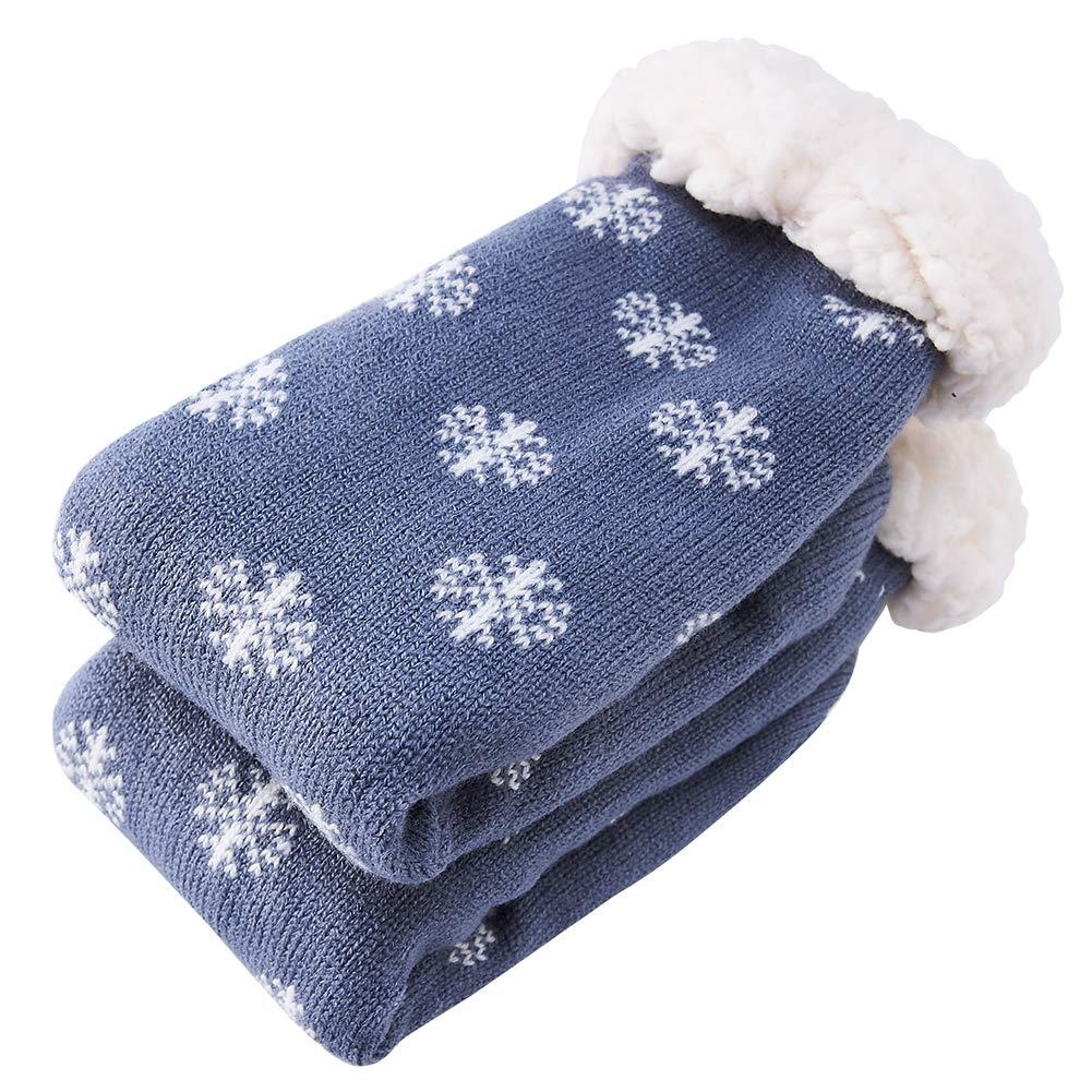 Spreadhoodie Hüttenschuhe Socken für Herren Damen Bunte Warme Kuschelsocken Wintersocken Weihnachtsmann Weihnachten mit Anti Rutsch Noppen Blau