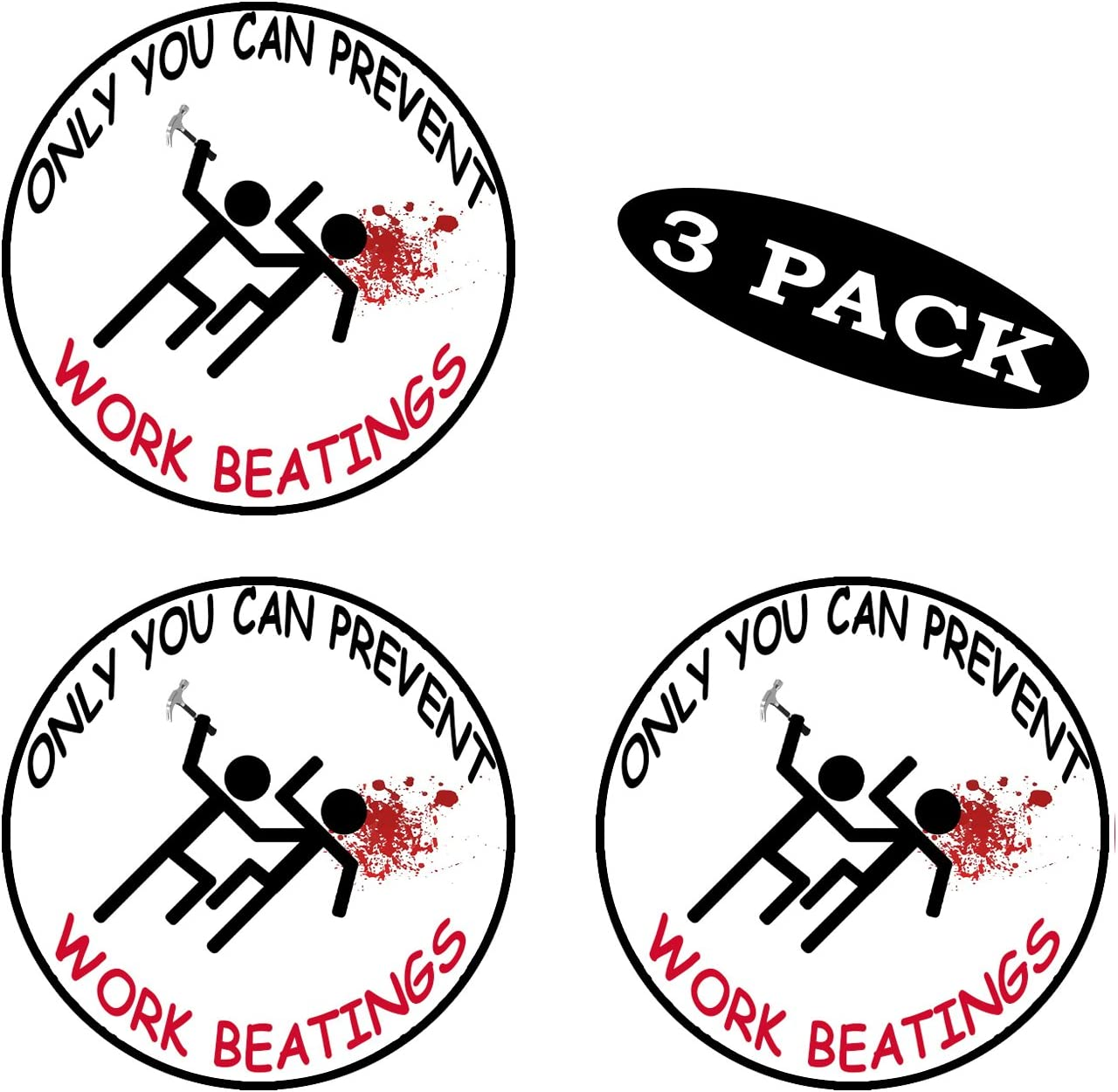 Rogue River Tactical 3 Pack Funny Hard Hat Sticker Only You Can Prevent Workplace Beatings Work Biker Helmet Decals Toolbox 2 Round
