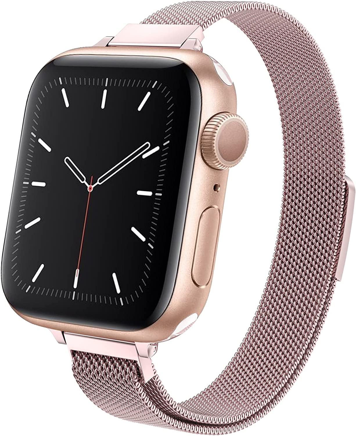 MRAIN-H Compatible with Apple Watch Band 38mm/40mm/42mm/44mm, Slim & Thin Stainless Steel Women Wristband with Strong Magnetic Clasp Replacement Band for iWatch Series 6/SE/5/4/3/2/1