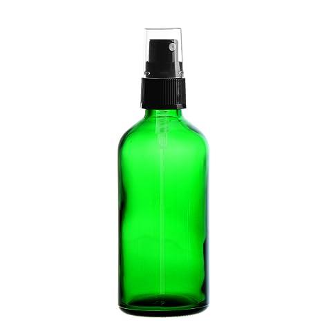 10 x Verde Vidrio Botella 100 ml/pulverizador Incluye Pump vaporizador/cabezal pulverizador Negro