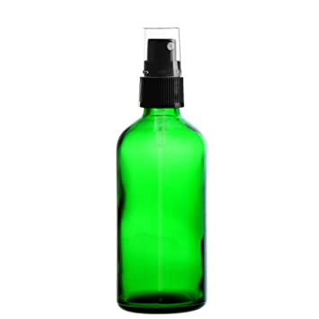 5 x verde vial de vidrio 100 ml/botella con pulverizador de bomba/cabezal negro DIN ...