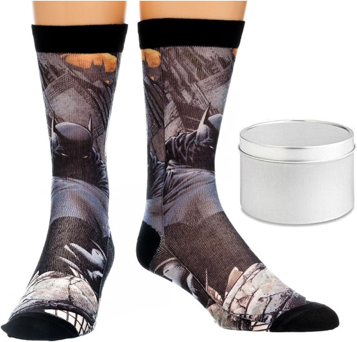 2 Piece Gift Set Batman Dark Mens Sublimated Crew Socks 1 Pair /& Tin