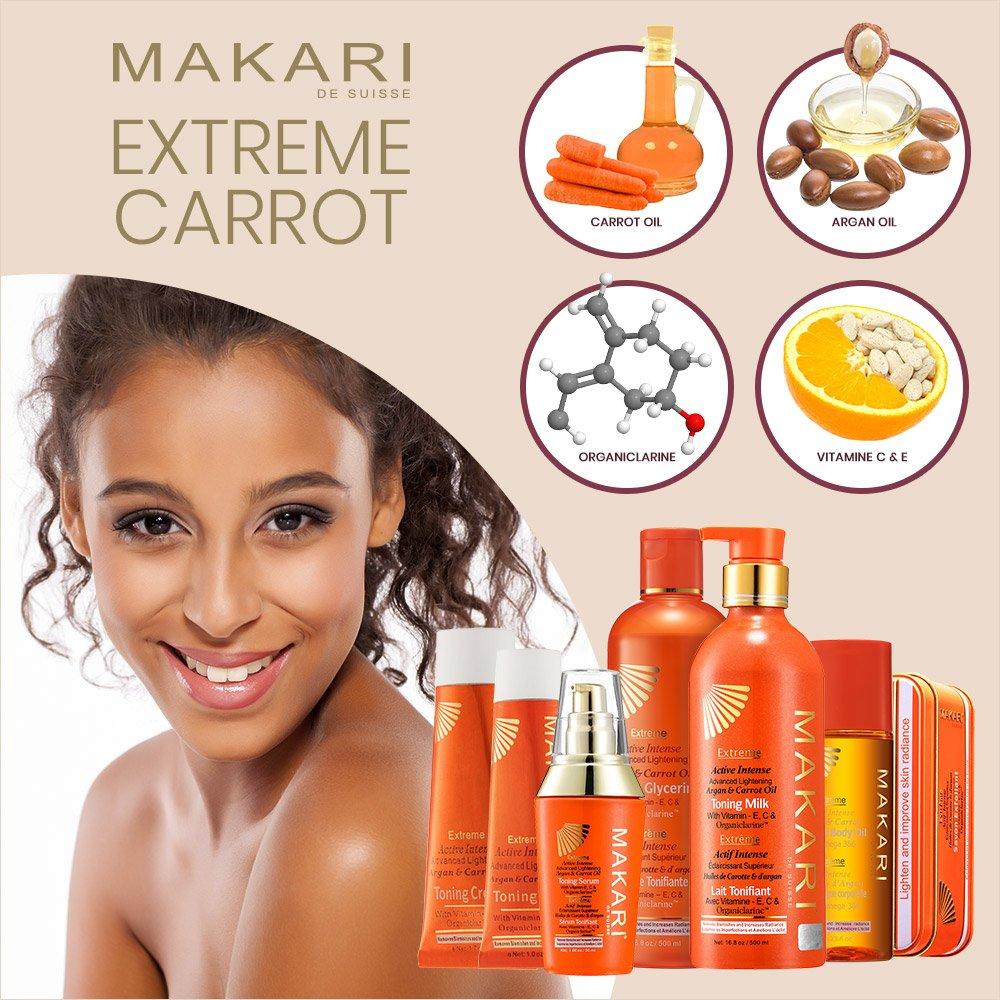 Makari Extreme Carrot & Argan Oil Skin Toning BODY MILK 16.8oz – Lightening, Brightening & Tightening Body Lotion with Organiclarine – Whitening & Anti-Aging Treatment for Dark Spots, Acne by MAKARI (Image #5)