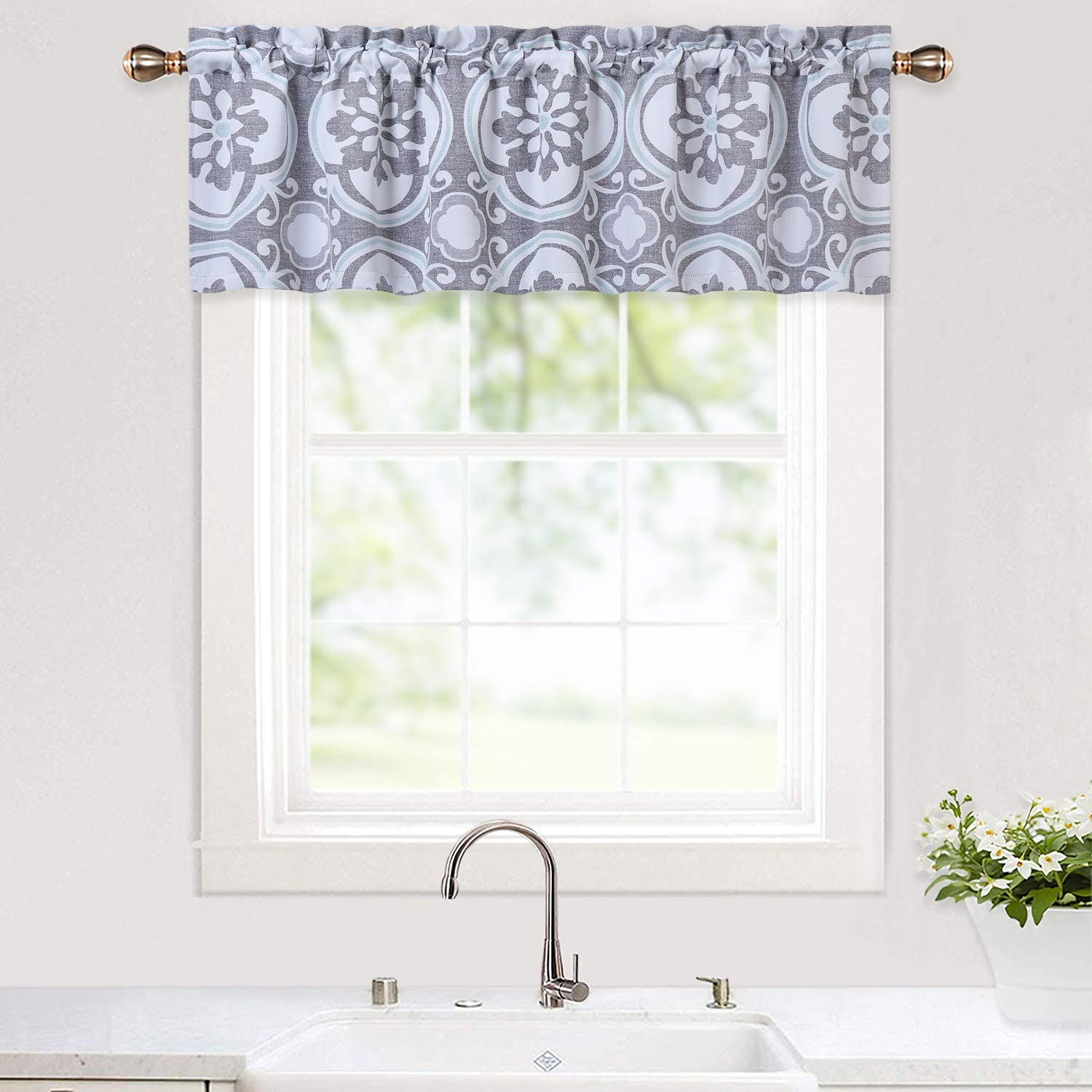 "Haperlare Medallion Pattern Valance Curtains for Kitchen Cafe Curtains, Room Darkening Floral Printed Window Kitchen Valanc, Blackout Valance Bathroom Window Curtains, Grey, 52"" x 15"""