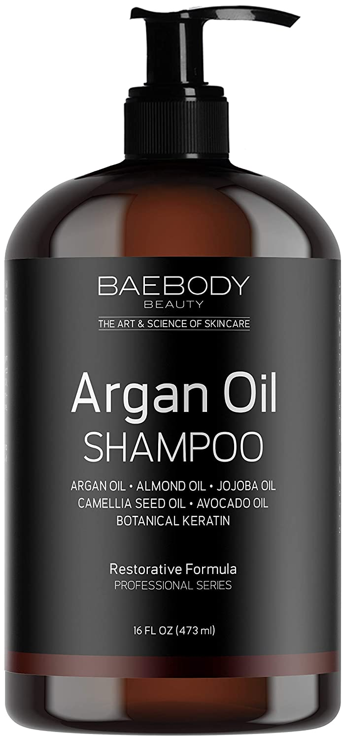 Baebody Moroccan Argan Oil Shampoo 16 Oz - Sulfate Free - Volumizing & Moisturizing Gentle on Curly & Color Treated Hair for Men & Women. Infused with Keratin.