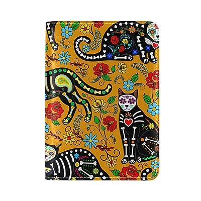 Cooper girl Calavera Sugar Skull Black Cats Passport Cover Holder Case Leather Protector for Men Women Kid