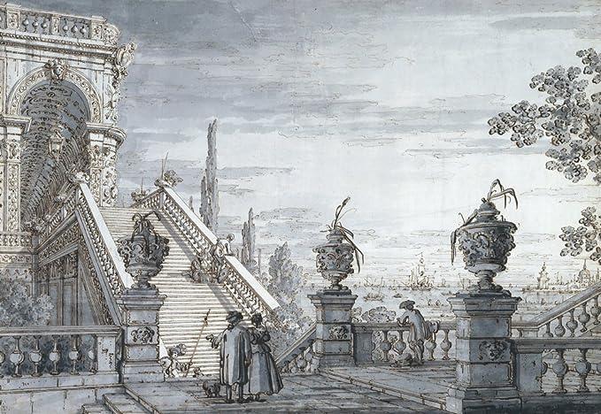 Berkin Arts Canaletto Giclee Papel de Arte impresión Obras de Arte Pinturas Reproducción de Carteles(Un capriccio con una Escalera Monumental.): Amazon.es: Hogar