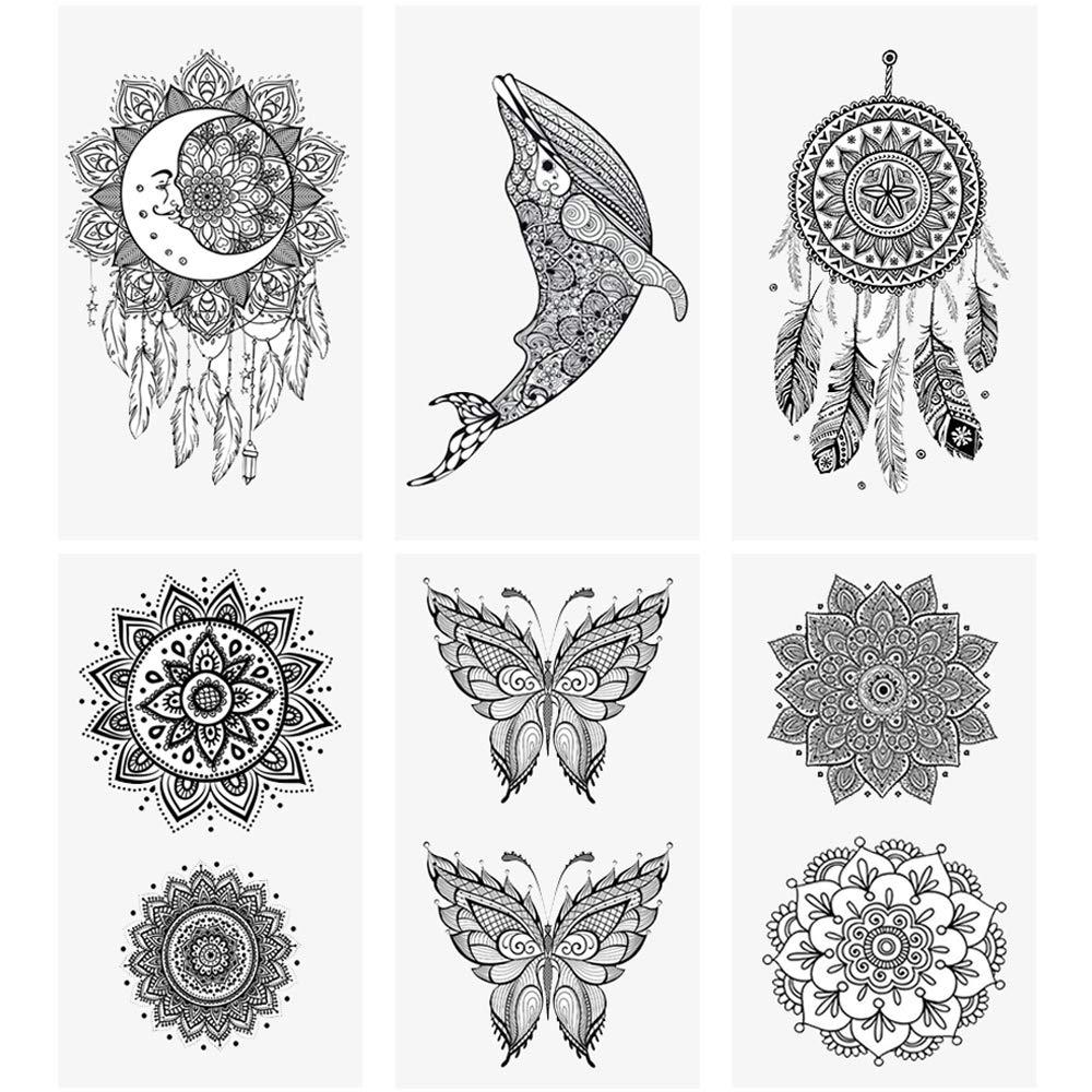 "glaryyears 20 Sheets Small Mandara Temporary Tattoos for Women Men, Moon Dreamcatcher Flower Fake Tattoo Stickers Waterproof on Hand Arm Wrist Body Art 2.4""x4.1"""