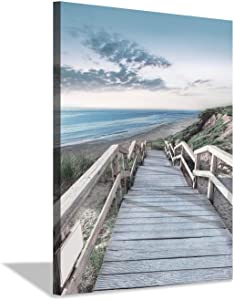 Beachside Wooden Path Wall Art: Bridge Boardwalk Stair Graphic Art on Wrapped Canvas for Wall Decor (18''x24'')