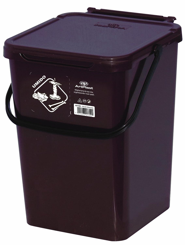 Art Plast BS10/M Cassonetto da 10 litri per la raccolta differenziata in plastica, marrone