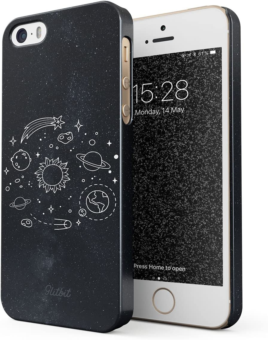 Glitbit Compatible with iPhone 5 / 5s / SE Case Cute Solar System Galaxy Stars Planet Sun Earth Moon Universe Cosmic Cosmos Space Tumblr Thin Design Durable Hard Shell Plastic Protective Case Cover