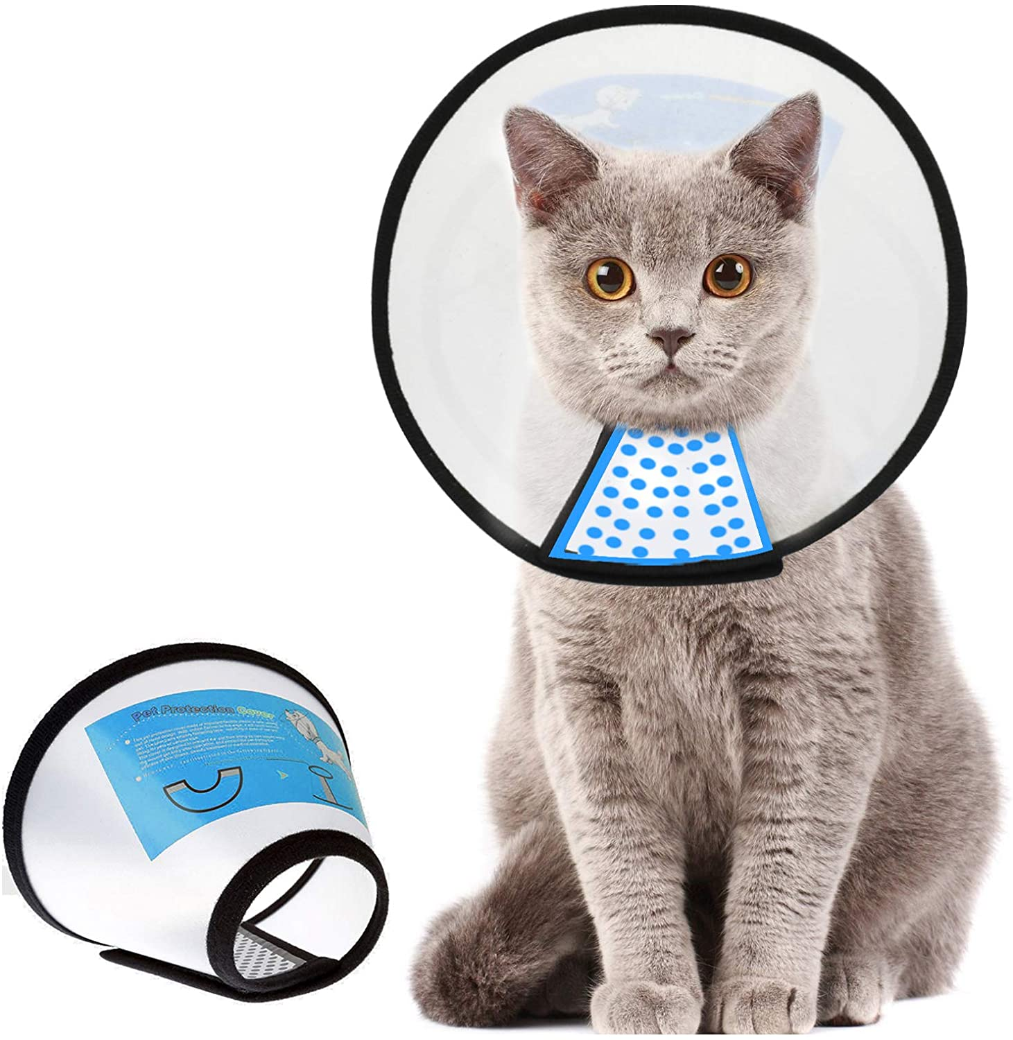 Etophigh Pet Cone Cat Collar in Recovery Pet Medical Recovery Elizabeth Soft Collar Special for Cats Adjustable Pet Cone Collar for Anti-bite Lick Wound