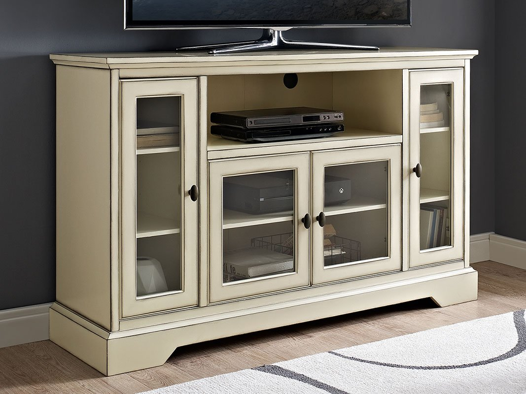 New 52 Inch Wide Highboy Style Television Stand in Antique White Finish