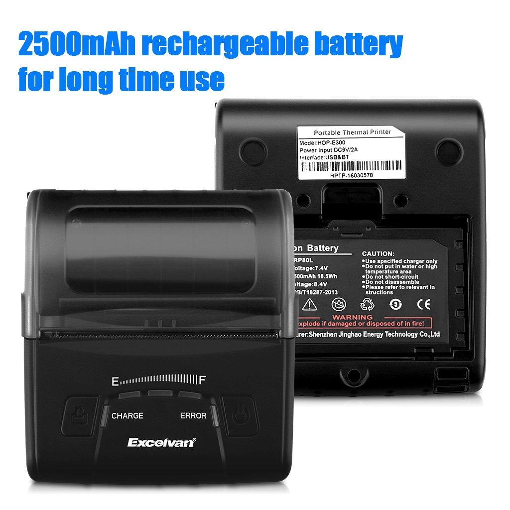 Excelvan E300 Impresora térmica portátil 80 mm Bluetooth ...