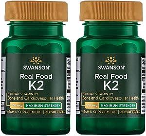 Swanson Real Food Vitamin K-2 - Maximum Strength 200 mcg 30 Sgels 2 Pack