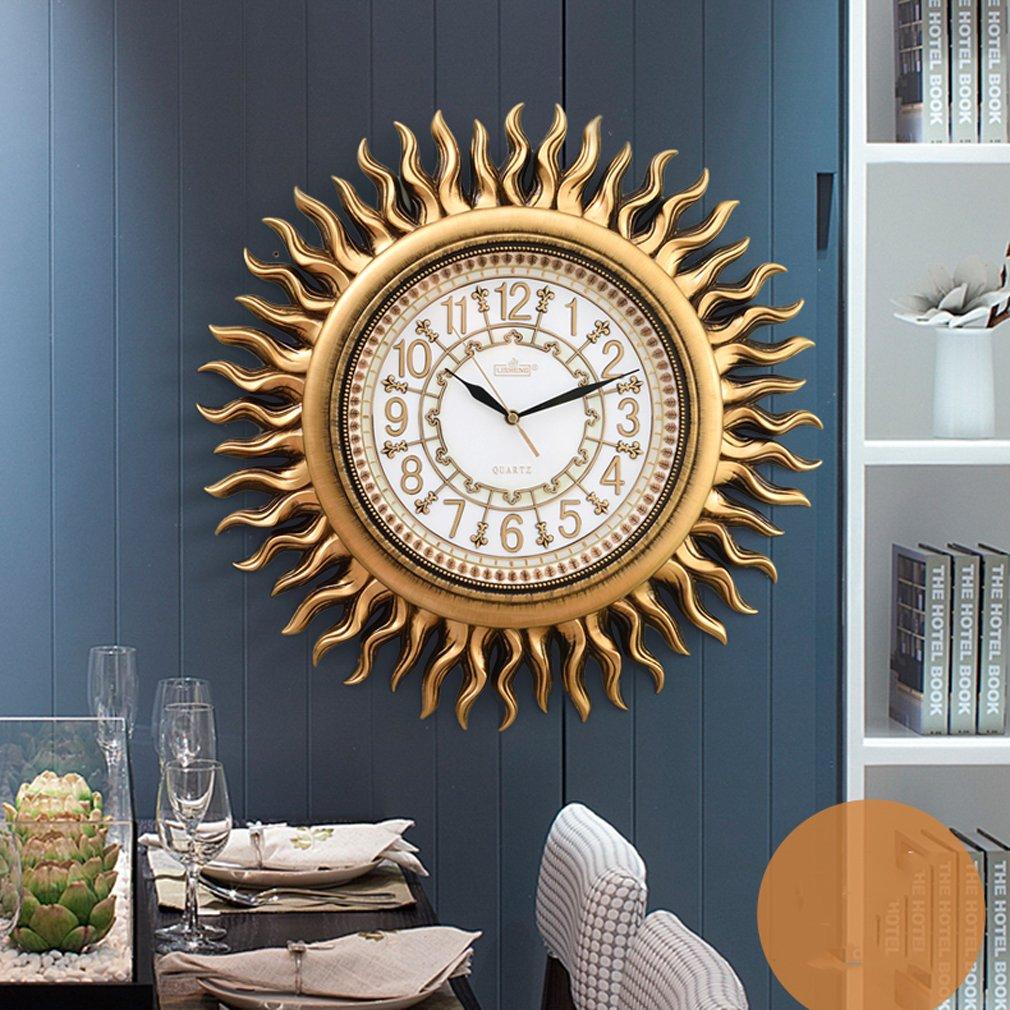 GUO - American clock wanduhr wohnzimmer moderne kreative persönlichkeit mode stumm uhr Europäischen retro dekorative sonne wand