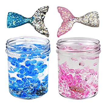 SWZY Fluffy Slime Mermaid Mud Cute Ice Crystal Slime con Cuentas de pecera y Cola de pez, 120ML * 2: Amazon.es: Juguetes y juegos